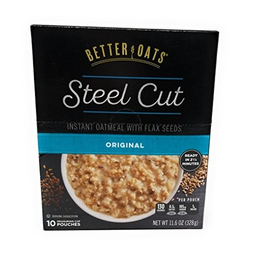 Better Oats Original Steel Cut Instant Oatmeal with Flax - 3 Pac...