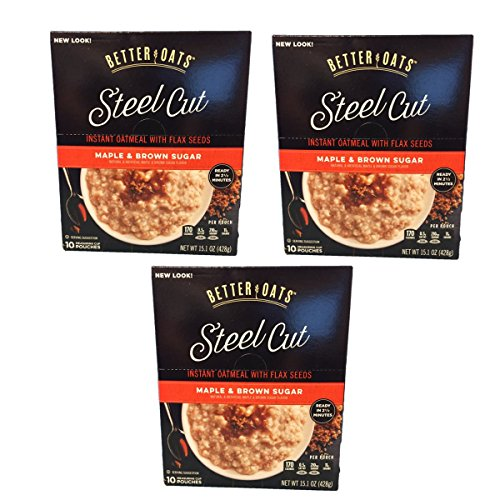BetterOats Oat Steel Cut Maple and Brown Sugar Oatmeal with Flax...