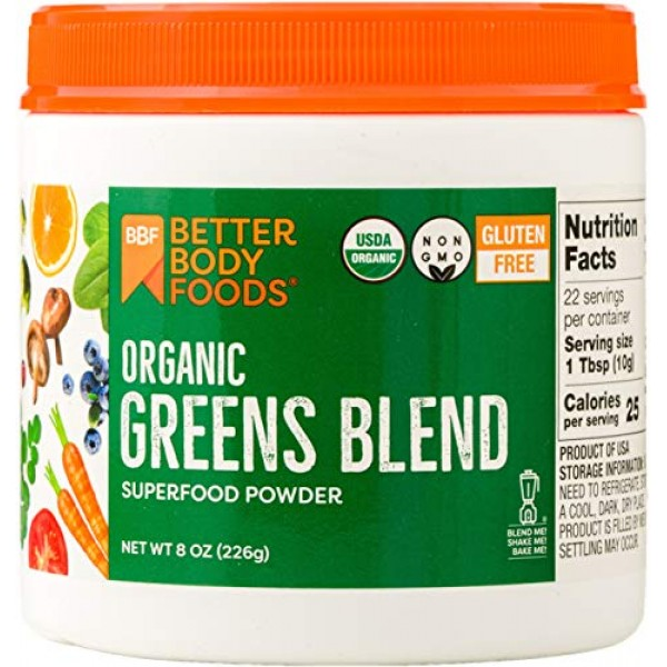 BetterBody Foods & Nutrition Foods Organic Greens Blend, 8 Ounces