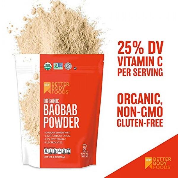 BetterBody Foods Organic Baobab Powder with Electrolytes, Iron, ...