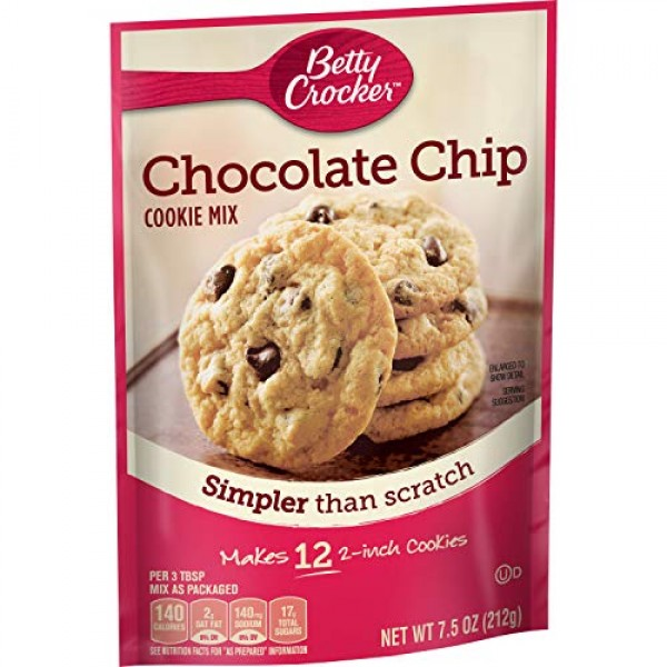 Betty Crocker Cookie Mix Chocolate Chip Snack Size Makes 12 Cook...