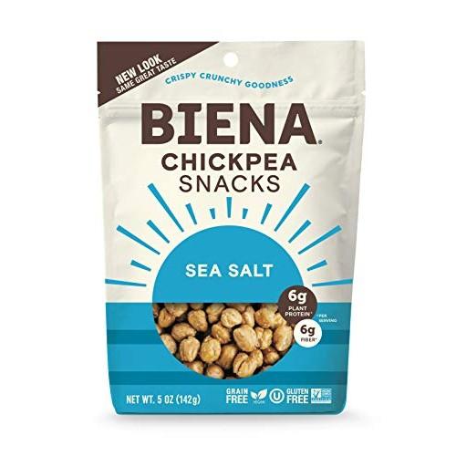 Biena Non-GMO Chickpea Snacks, Sea Salt, 5 Ounce Pack of 4