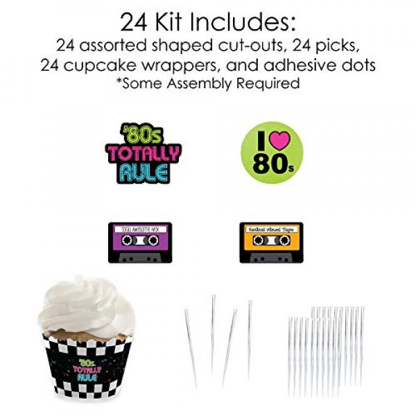 80s Retro - Cupcake Decoration - Totally 1980s Party Cupcake Wr...