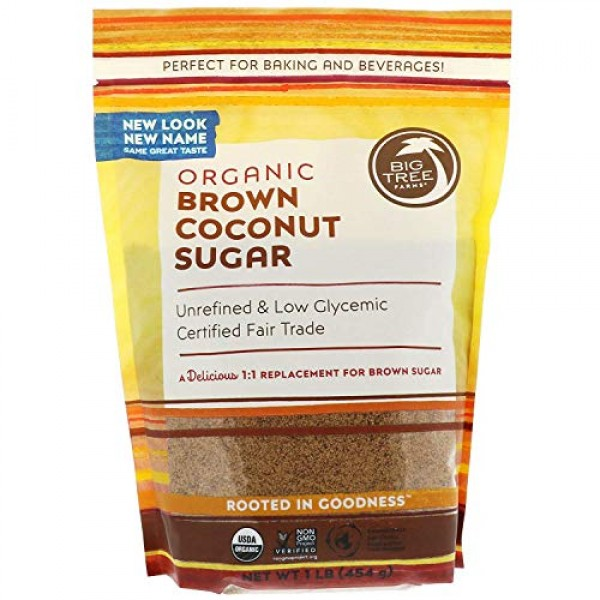 Big Tree Farms Organic Brown Coconut Palm Sugar, 2 Pounds Pack ...