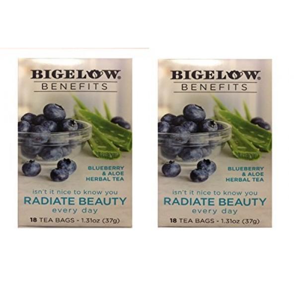 Bigelow Benefits Blueberry & Aloe Herbal Tea , Pack of 2