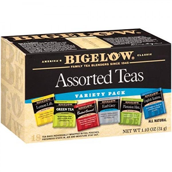 Bigelow Assorted Teas 6 Flavors, 18 Count Box Pack of 6 Caffei...