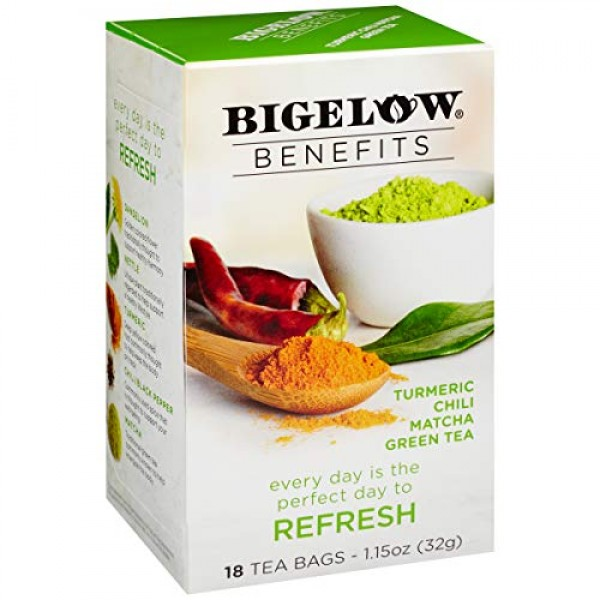 Bigelow Benefits Refresh Turmeric Chili Matcha Green Tea, 18 Cou...