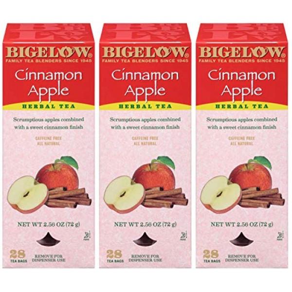 Bigelow Cinnamon Apple Herbal Tea Bags 28-Count Box Pack of 3 ...