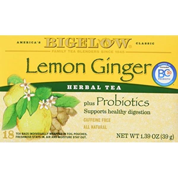Bigelow Classic Lemon Ginger Herbal Tea Plus Probiotics 18 Bags ...