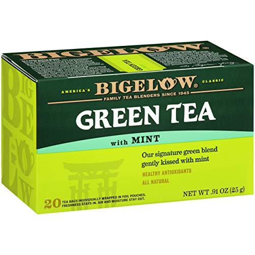 Bigelow Green Tea with Mint Tea Bags, 20 Count Box Pack of 6 C...