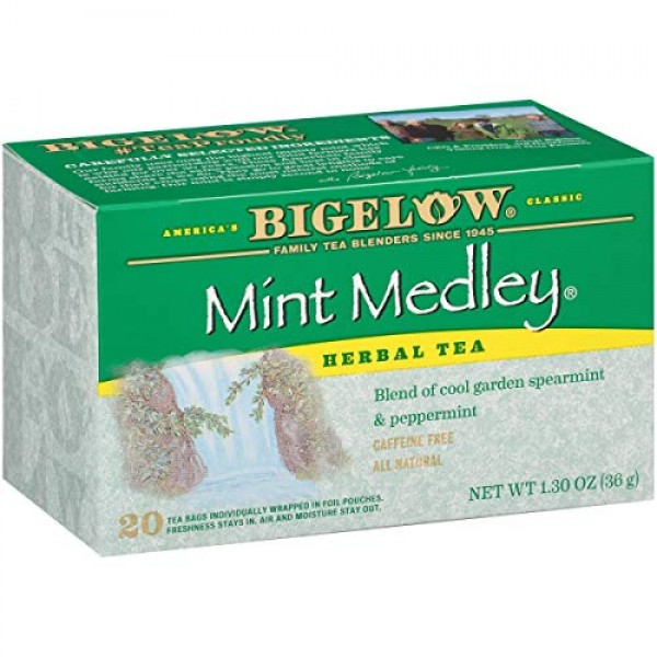 Bigelow Mint Medley Herbal Tea Bags 20-Count Boxes Pack of 6, ...