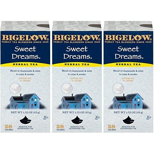 Bigelow Sweet Dreams Herbal Tea 28-Count Box Pack of 3 Relaxin...