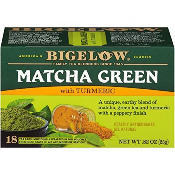 Bigelow Tea Matcha Green Tea with Turmeric, 18 Count Pack of 6...