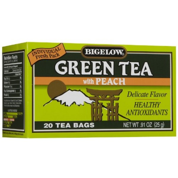Bigelow Green Tea with Peach 20 Count Tea Bag Pack of 3