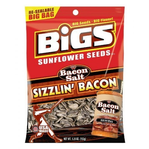 Bigs Bacon Salt Sizzling Sunflower Seed, 5.35-Ounce 3 Pack