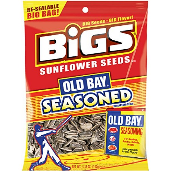 BIGS Old Bay Seasoned Sunflower Seeds, 5.35-ounce Bag Pack of 3