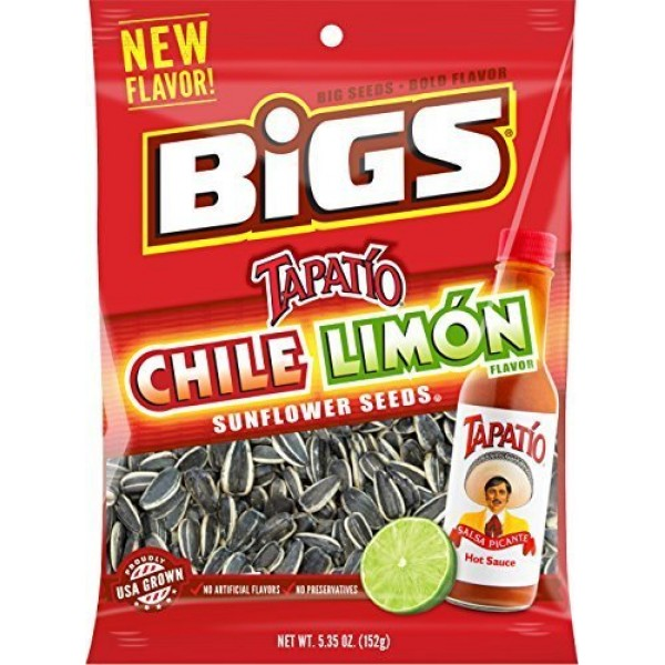 BIGS Chile Limon Sunflower Seeds, 5.35-ounce Bag Pack of 3