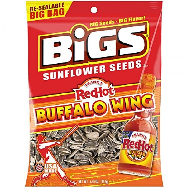 Bigs Bold and Tangy Buffalo Wing Sunflower Seeds, 5.35 Ounces Ba...