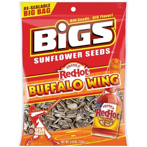 BIGS Franks RedHot Buffalo Wing Sunflower Seeds, 5.35-Ounce Bag...