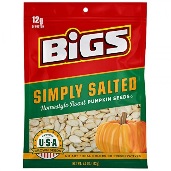 BIGS Simply Salted Homestyle Roast Pumpkin Seeds, Keto Friendly,...