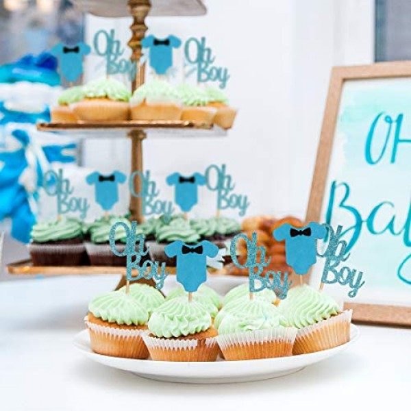 Baby Shower Cupcake Toppers for Boy, Blue Baby Jumpsuits Cake Cu...