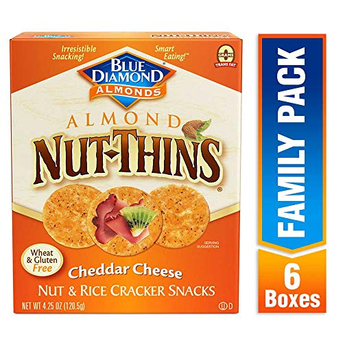 Blue Diamond Almond Nut Thins Cracker Crisps, Cheddar Cheese, 4....