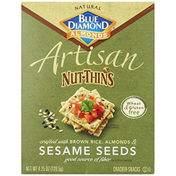 Blue Diamond Almonds Artisan Nut Thins Cracker Crisps, Sesame Se...