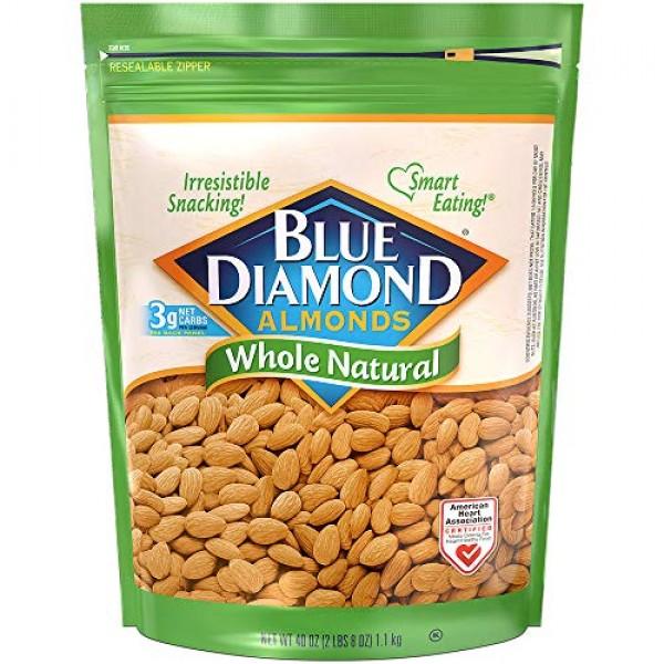Blue Diamond Almonds Whole Natural Raw Snack Nuts, 40 Oz Reseala...