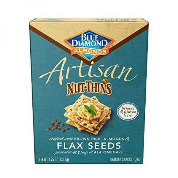Blue Diamond Almond Artisan Nut Thins Cracker Crisps, Flax Seeds...