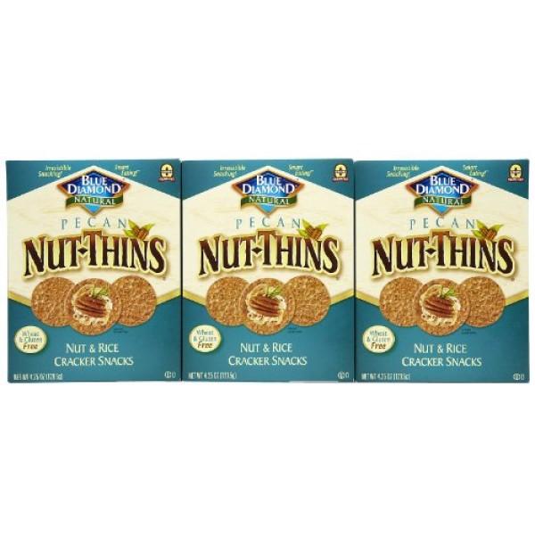 Blue Diamond NutThins Cracker Snacks, Pecan, Boxes, 4.25 oz, 3 pk