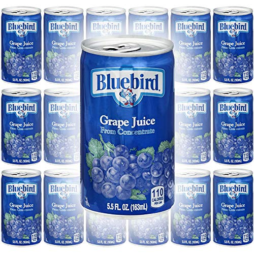 Bluebird Grape Juice, From Concentrate, 5.5oz Mini Can Pack of ...