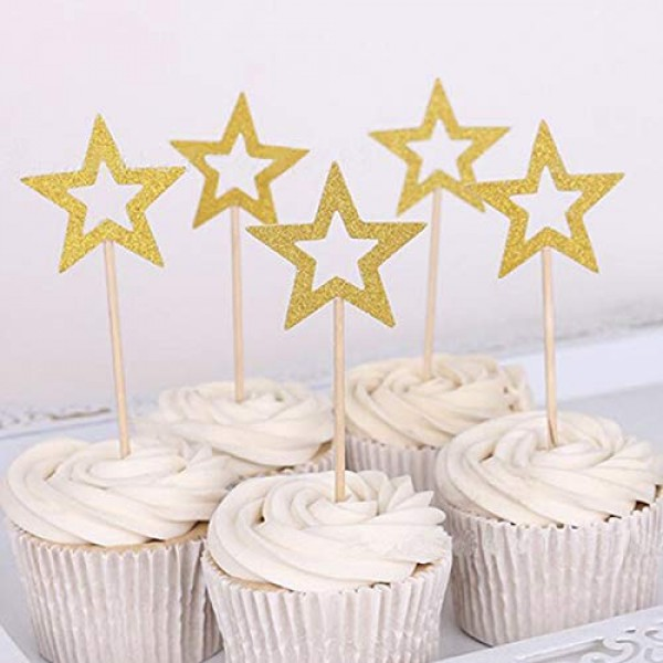 50 Pcs Gold & Silver Star Cupcake Toppers,Star Cupcake Toppers T...
