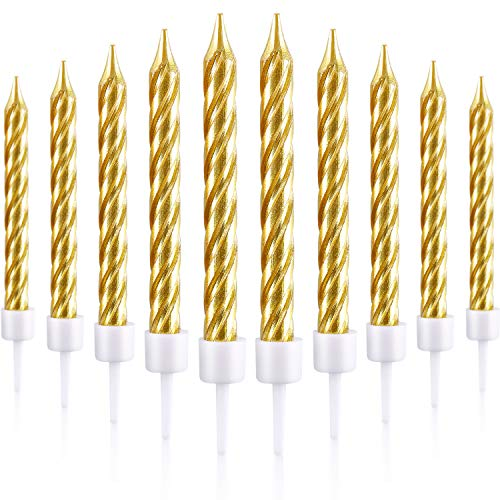 Blulu 50 Pieces Spiral Cake Candles in Holders Metallic Cake Cup...