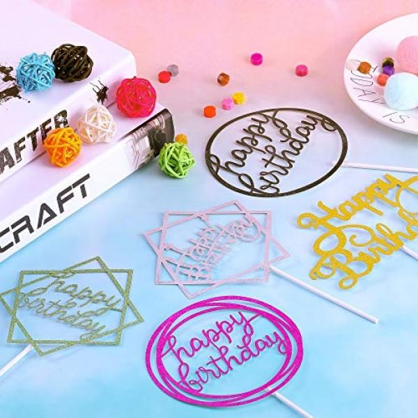 30 Pieces Glitter Happy Birthday Cake Topper Birthday Cupcake To...