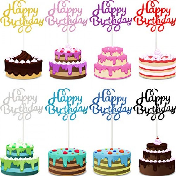 40 Pieces Happy Birthday Cupcake Toppers Birthday Cake Topper Pi...