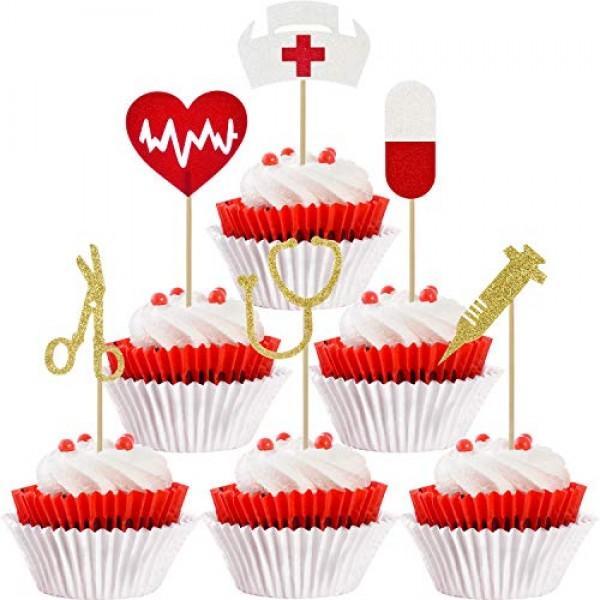 48 Pieces Nursing Cupcake Toppers Nurse Graduation Cupcake Toppe...
