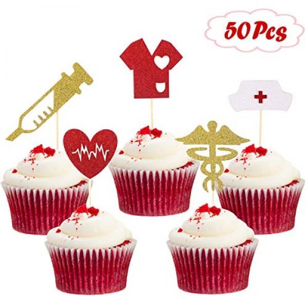 50 Pieces Nursing Cupcake Toppers Glitter Nurse Graduation Cupca...