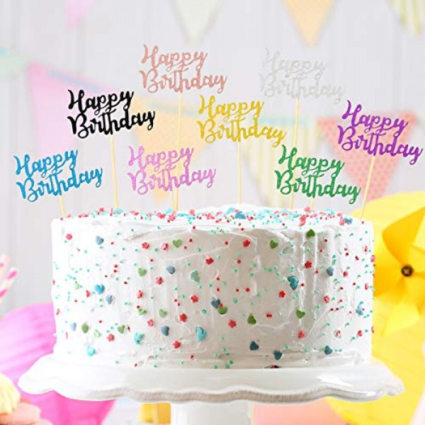 64 Pieces Happy Birthday Cupcake Toppers Glitter Birthday Cake T...
