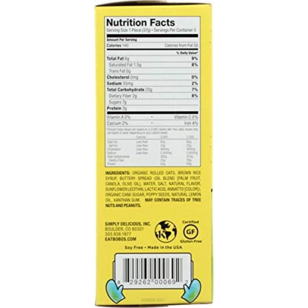 Bobos Oat Bites, Lemon Poppyseed, 1.3 Ounce Bites 5ct Box, G...