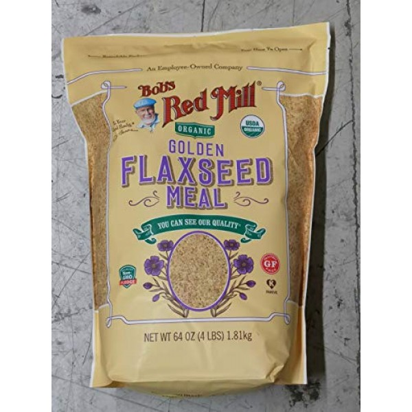 64oz Organic Whole Ground Golden Flaxseed Meal Bobs Red Mill 4...