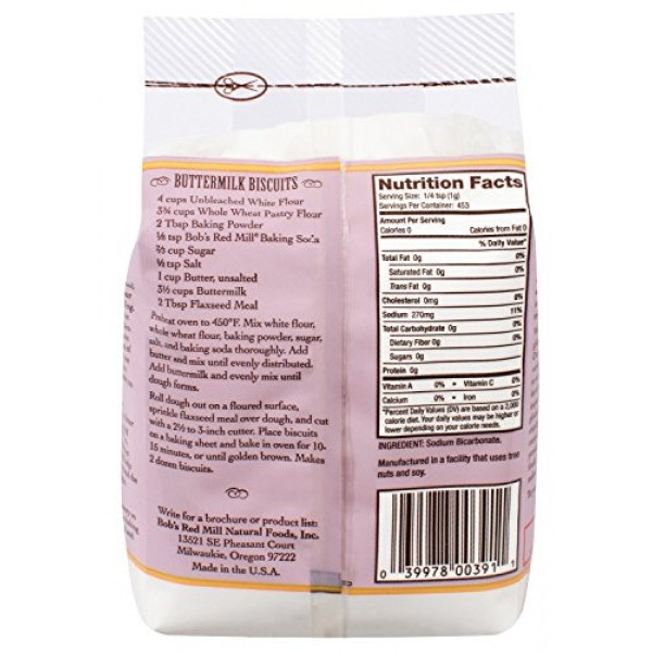 Baking Soda, Gluten Free 2/16oz Bobs Red Mill, Packaging May Vary