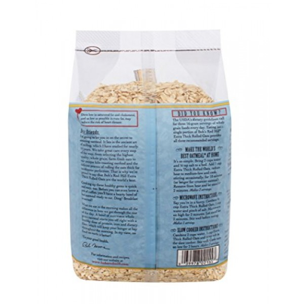Bobs Red Mill Extra Thick Rolled Oats, 32 Ounce Pack of 4