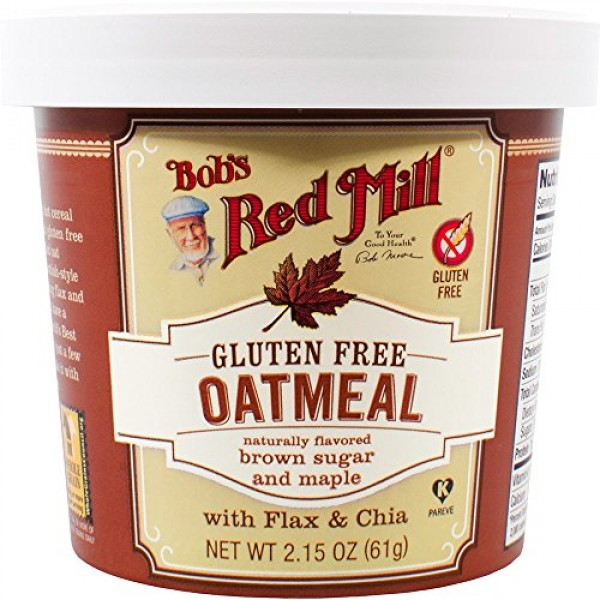 Bobs Red Mill Gluten Free Oatmeal Cup, Brown Sugar & Maple, 2.1...