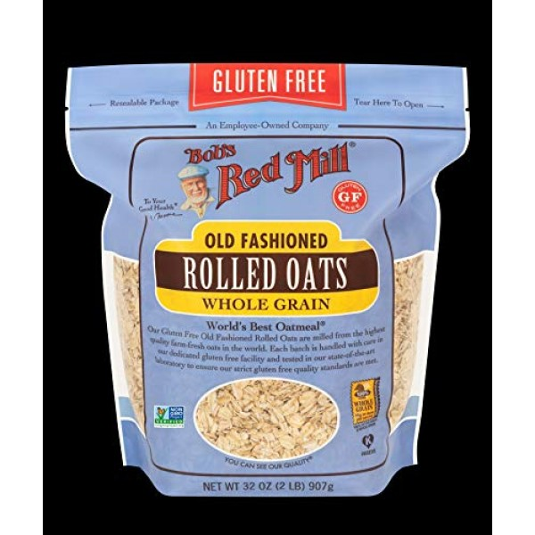 Bobs Red Mill Gluten Free Old Fashion Rolled Oats 32 Ounce, Pa...