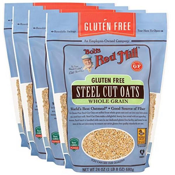 Bobs Red Mill Gluten Free Steel Cut Oats, 24 Ounce Pack of 4