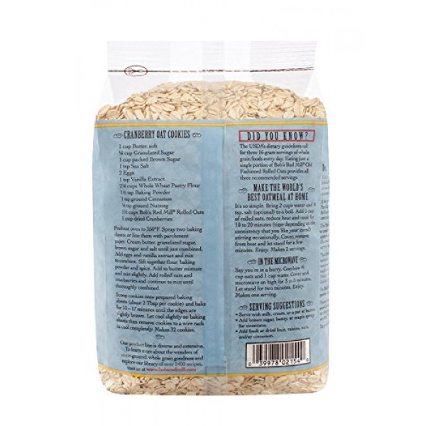 Bobs Red Mill Old Fashioned Regular Rolled Oats, 32 Ounce Pack...