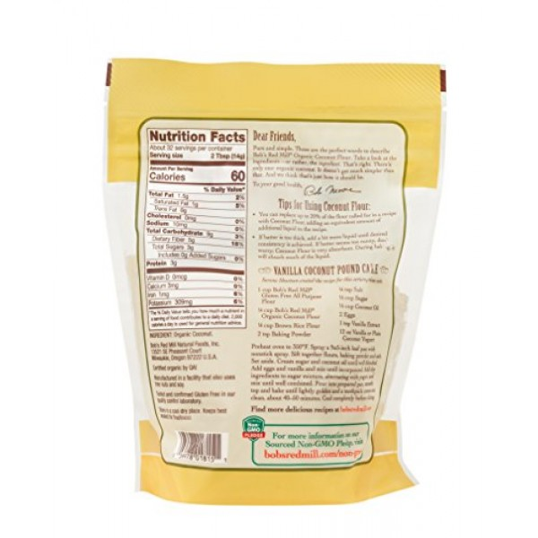 Bobs Red Mill Organic Coconut Flour, Resealable Stand up Bag, 1...