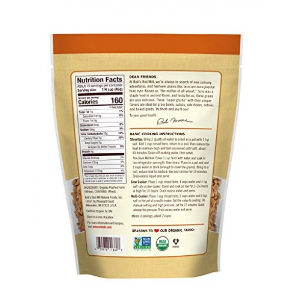 Bobs Red Mill Organic Farro Grain, 24-ounce Pack of 4