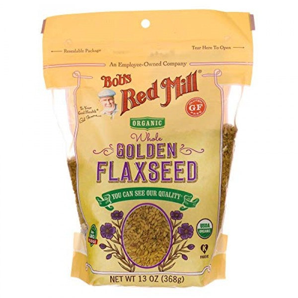 Bobs Red Mill Organic Raw Whole Golden Flaxseeds, 13-ounce