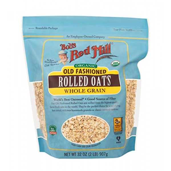 Bobs Red Mill Organic Regular Rolled Oats, 32 Ounces Pack of 4...
